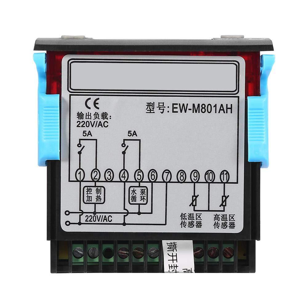 Keenso Contr/ôleur Thermostat Num/érique de Diff/érence de Temp/érature Polyvalent AC 220V 5A pour Chauffe-eau Solaire EW-801AH avec Sondes de Capteur R/égulateur de Temp/érature Solaire