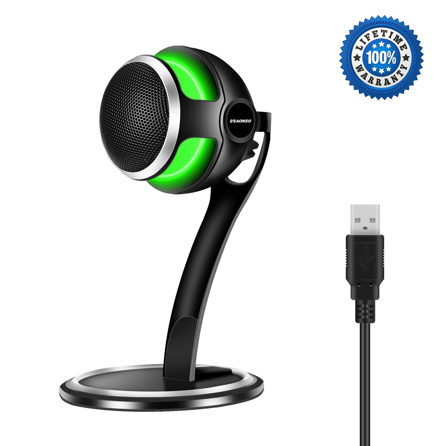 Computer Microphone,Aokeo Storm Professional USB Studio Condenser Games Microphone for Chatting/Skype/YouTube/Recording/Gaming/Podcasting for iMac PC Laptop MacBook Playstation