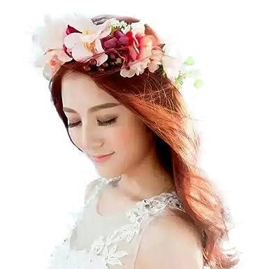 Jishen Flower Headband Garland Crown Festival Wedding Hair Wreath Floral  Headband Wedding dress headdress Headwear ( 1b7999cb4e9