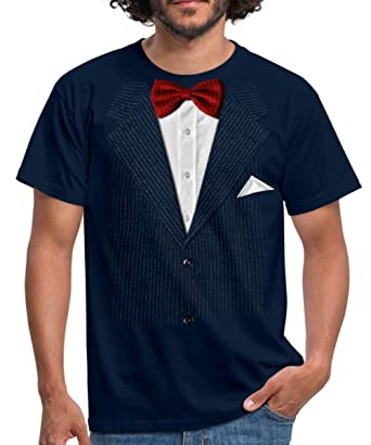 473a4dd3150c9b Spreadshirt Falscher Anzug Mit Fliege Scherz Männer T-Shirt  Amazon.de   Bekleidung