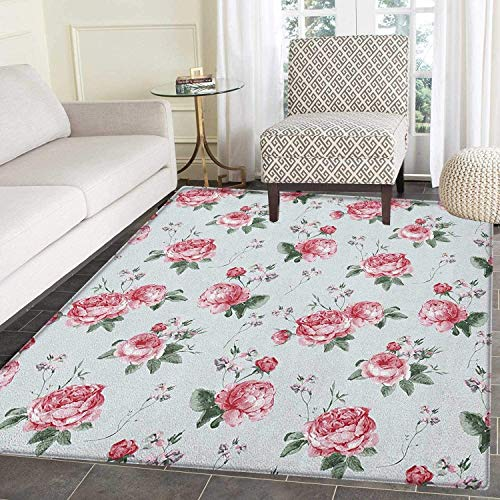 Rose Anti-Skid Area Rug Blooming English Rose Watercolor Painting Style Garden Shabby Chic Wild Flowers Door Mat Increase 3'x4' Reseda Green Pink