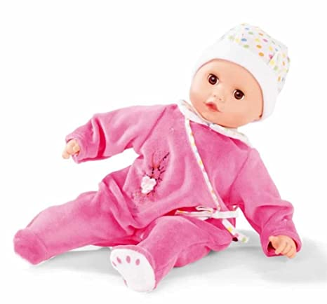 "Gotz Muffin 13"" Bald Baby Doll in Pink Pajamas with Brown Sleeping Eyes"