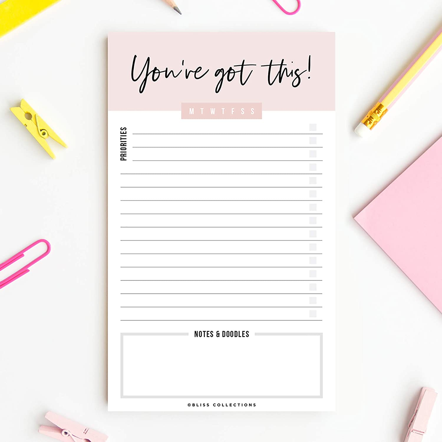 Bliss Collections Motivational Daily to Do List Notepad, You've Got This Tear-Off Pad, Memo Pad for Shopping Lists, Reminders and Appointments, 4.5 x 7.5 inches, 50 Sheets (Optional Magnet Included)