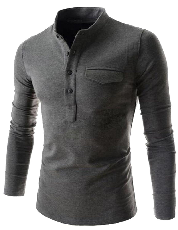 Vska Men's Fashion Solid Color Collar Long-Sleeved POLO Shirt