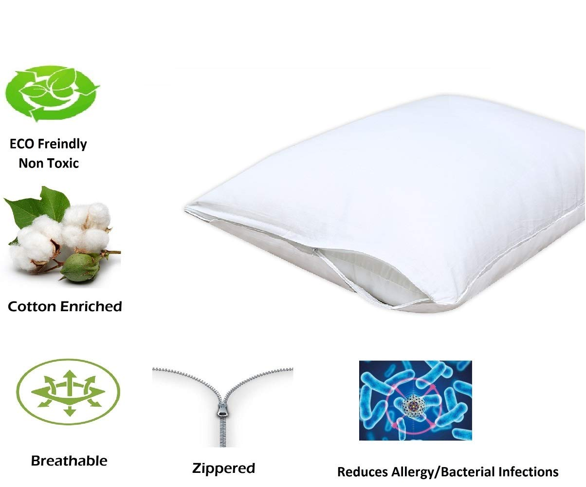 4 Pack Pillow Protectors, White Pillow Cases, Zippered Pillow Protectors Breathable Pillow Covers, ❤️ Reduces Allergy ❤️ and Bacterial Resistant Pillow Case Covers.