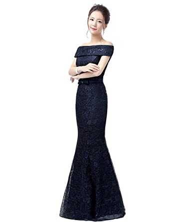Erosebridal Sexy Off Shoulder Mermaid Long Prom Dress Gowns Womens Lace Evening Formal Dress Navy US2