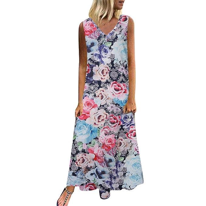 Amazon.com: Mujer Casual Maxi Vestido Bobo Impreso Sin ...