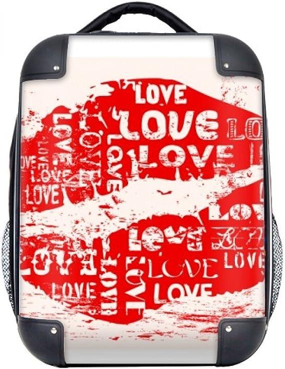 DIYthinker Día de San Valentín Palabra Clave del Beso del Amor del Estuche rígido de Transporte para Hombro Niños Mochila 15
