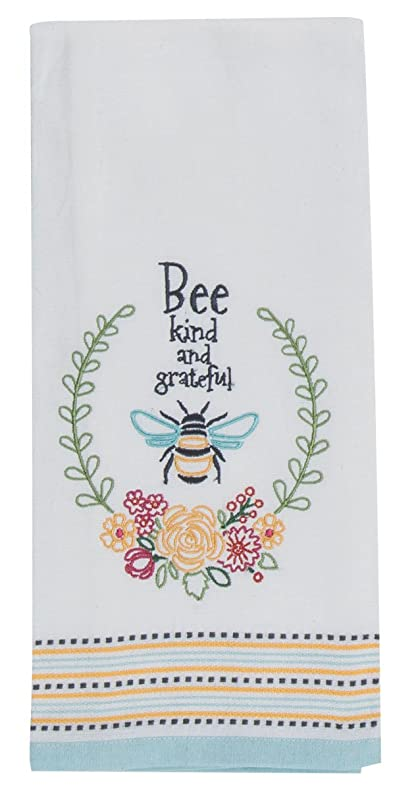 Beau Kay Dee Designs R6567 Garden Bee Embroidered Tea Towel