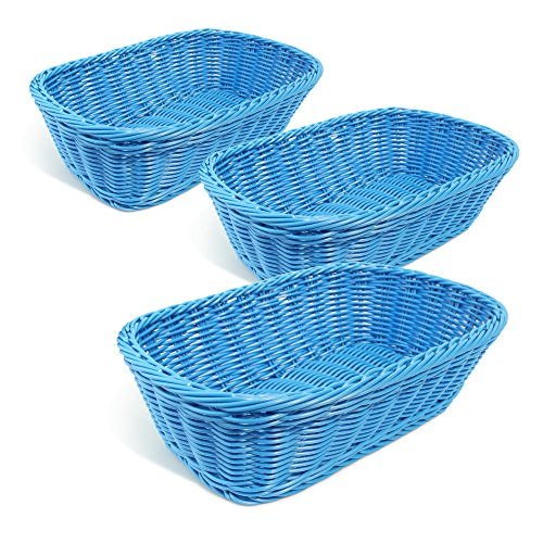 Gift Blue Basket (Colorbasket 31404-102 Rectangular Food Basket, Water Resistant, Microwave Safe, BPA Free, Dark Blue, Set of 3)