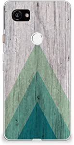 CasesByLorraine Google Pixel 2 XL Case, Wood Print Geometric Triangle Pattern Case [for Men] Flexible TPU Soft Gel Protective Cover for Google Pixel 2 XL (2017) (S01)