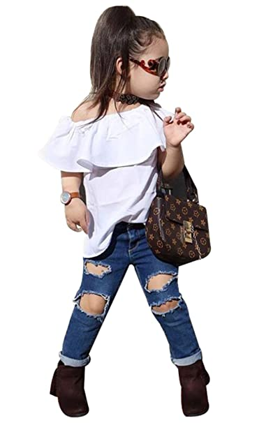 2ad1b52548708c Kids Baby Girls Off-Shoulder Ruffle Flouncing Shirt Tops+Denim Hole Pants  Outfits size1