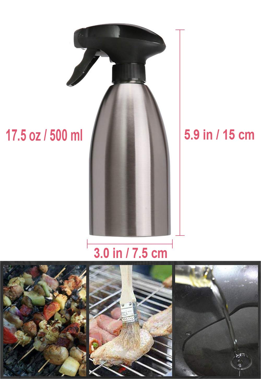 Olive Oil Sprayer Vinegar Sprayer Dispenser/ Stainless Steel Bottle Container 500 ml // 17.5 oz Ideal Portable Kitchenware Tools for Outdoor BBQ//Travel Cooking//Daily Kitchen Using