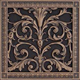 "Decorative Vent Cover, Grille, made of Urethane Resin in Louis XIV, French style fits over a 12"" x 12"", Total size, 14"" by 14"", for wall & ceiling installation only. (not for floors) (Rubbed Bronze)"