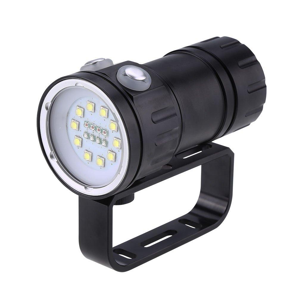 Fdit Linterna de Buceo LED Underwater 80m Disparo Light Fotografía Llenar de Light Scuba Antorcha con Soporte 12000 Lumen Socialme-EU
