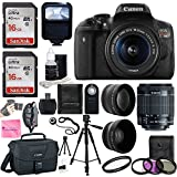 Canon EOS Rebel T6i SLR Camera 18-55mm f/3.5-5.6 Lens Deluxe Bundle, 58mm 2x Lens, Wide Angle Lens , Tripod , Flash , UV Kit , Sandisk 32GB + Camera Works Ultra Gentle Microfiber Cleaning Cloth