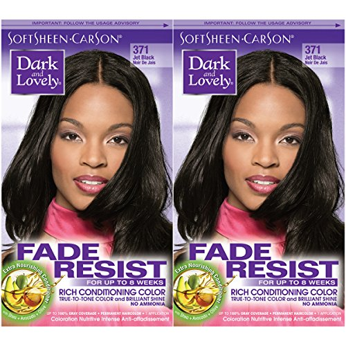 Dark and Lovely Fade Resist Rich Conditioning Color, Jet Black, 2 Count