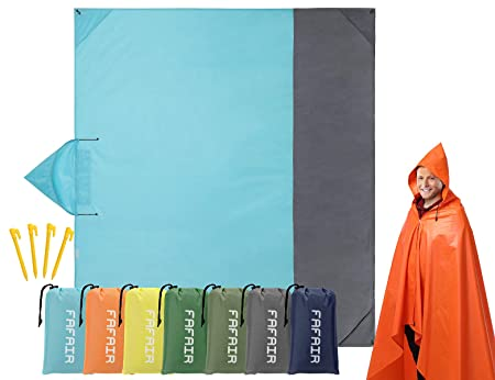 Fafair Multifunctional Outdoor Stadium Windproof Picnic Blanket – Hooded Coat Design, with Storage Bag 4 Stake