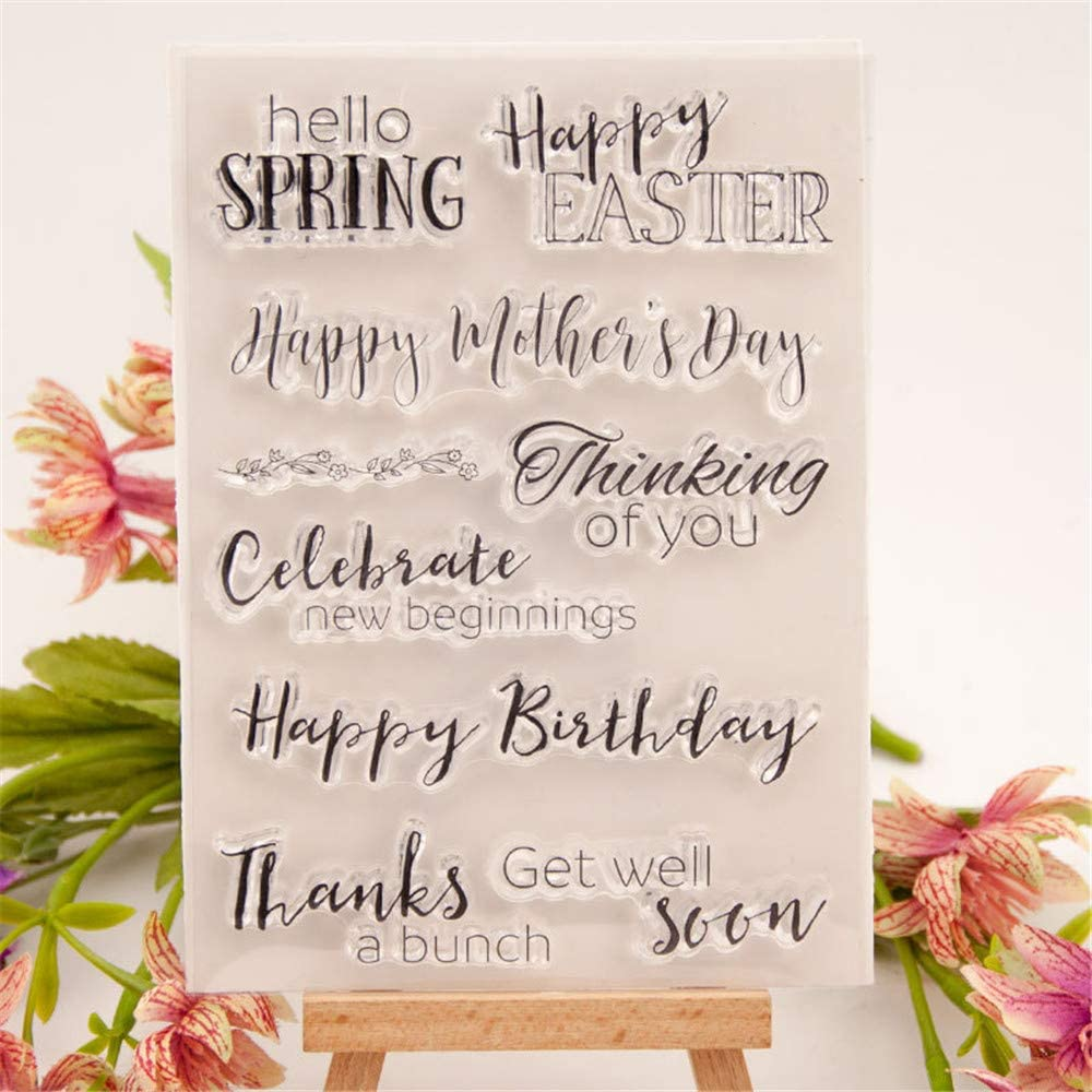 Hello Spring Happy Easter Mothers Day Happy Birthday Celebrate Sentiments Greetings Clear Stamps for Cards Making Decoration Clear Stamps or Scrapbooking Paper Craft Tools