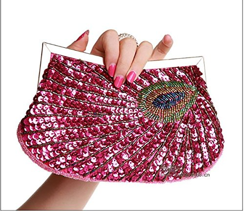 Paquet Bagues Peacock Le rouge Bead Main À Partie Sac Dîner Mesdames Ladies Admission Bag Manual Forfait Embroidery Petit Contre Package Style Main Paquet KLXEB À Sacs ScI47n