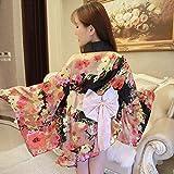 Womens Sexy Cherry Japanese Kimono Cosplay Costume Silk Floral Deep V Lingerie Robe Sleepwear Dress