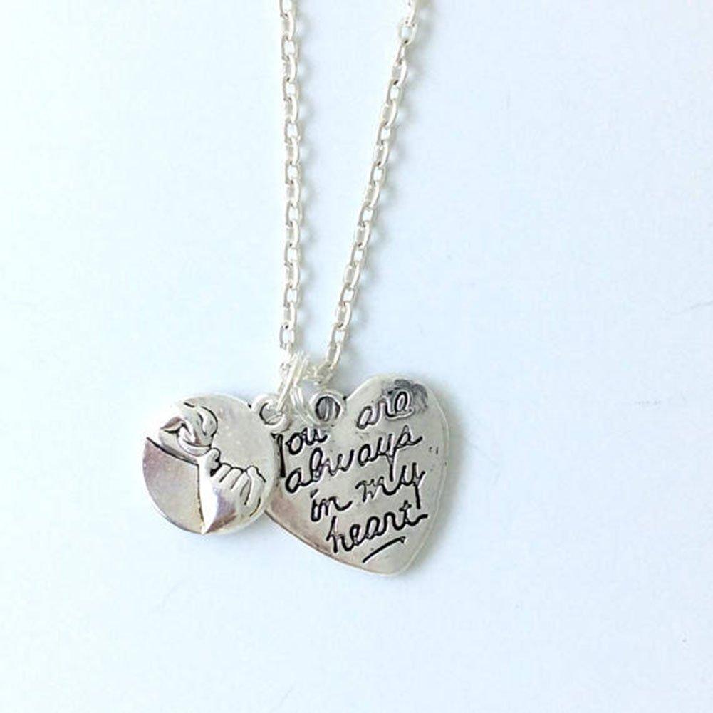 MayLove 2pcs Best Friend Split Broken Heart Rhinestone Engraved Chain Necklace Set Jerelry BFF