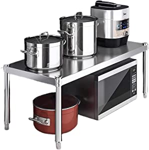 Stainless steel Kitchen Supplies Tableware Storage,microwave oven shelf rack,200 lb load bearing, 2 tier, shelf for toaster, Counter Rice Cooker Stand