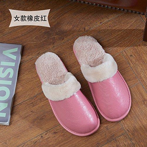 Fankou autunno e inverno pelle PU pantofole indoor femmina non-slip caldo fondo spesso home giovane pavimento impermeabile cotone pantofole inverno maschio, 38/39 (per 37-38 piedi), rosa