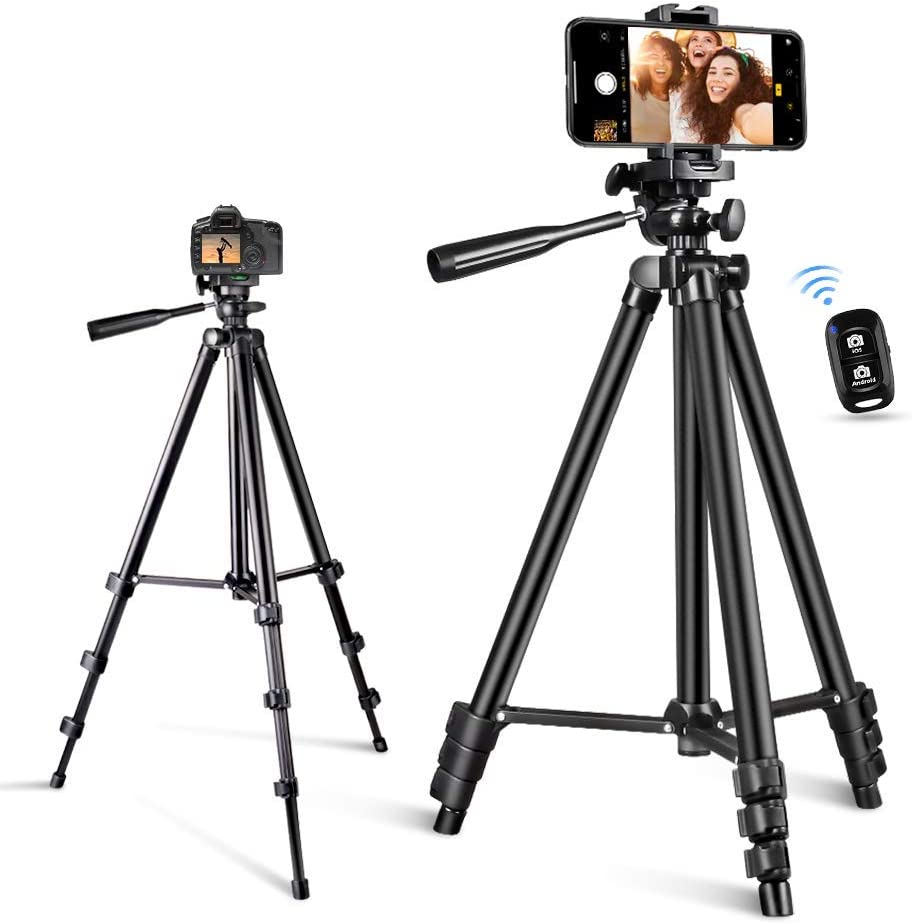 Phone Tripod, Torjim 50-inch Extendable and Lightweight Aluminum Tripod Stand with Bluetooth Remote Shutter, Phone Clip, Portable Travel Tripod for Photography, Video Recording, Vlogging, and More