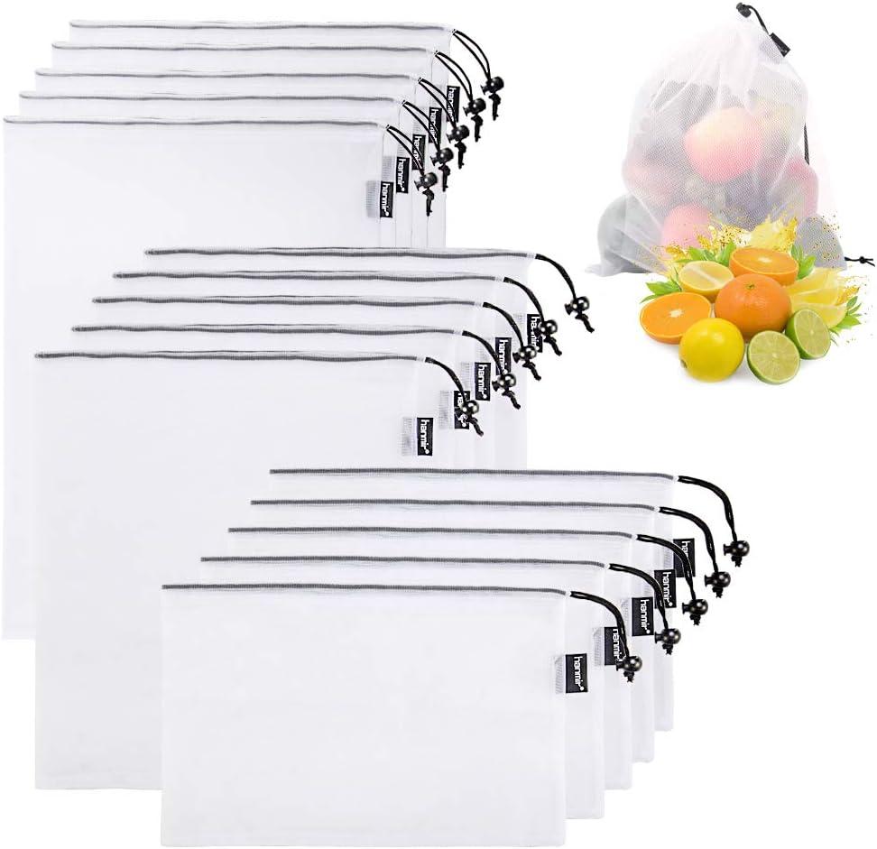 hanmir Bolsas Compra Reutilizables ecológicas Bolsa de Malla Bolsas Fruta Reutilizables para Fruta Verduras Juguetes Lavable y Transpirable 15PCS(5*S/M/L)