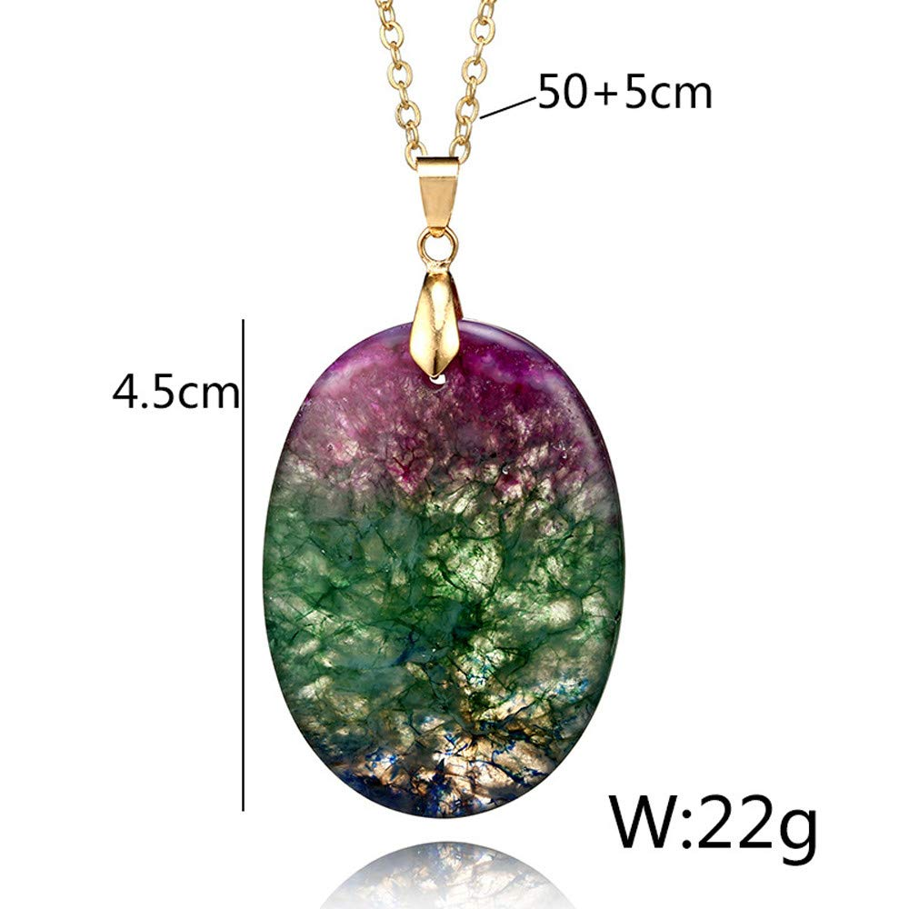 Geetobby Natural Crystal Rock Necklace for Women Gold Plated Quartz Pendant Necklace for Girls Rainbow Stone Necklace Chain by Geetobby Necklaces & Pendants (Image #1)