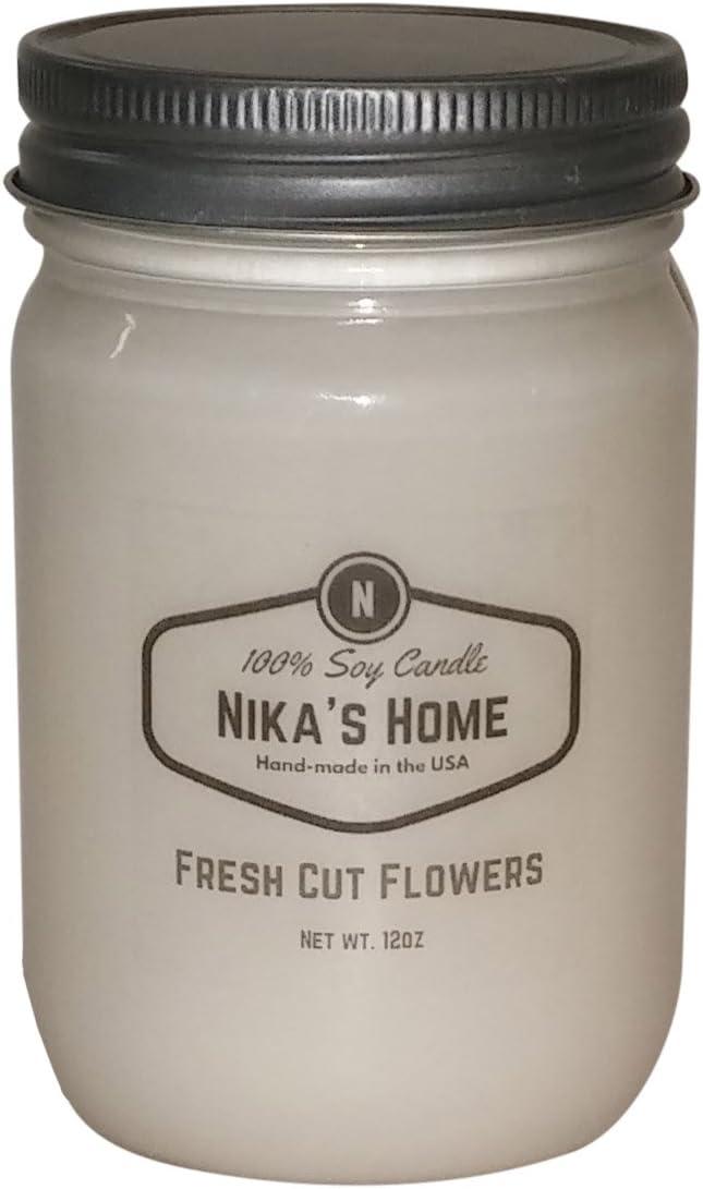 Nika's Home Fresh Cut Flowers Soy Candle - 12oz Mason Jar