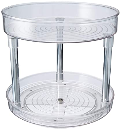 MDesign 2 Tier Lazy Susan Turntable Food Storage Container For Cabinet,  Pantry, Refrigerator,