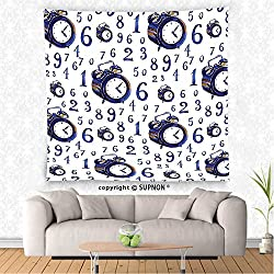 SUPNON custom tapestry Clock Decor Tapestry Watercolor Style Effect An Alarm Clock Illustration Caligraphic Numbers Wall Hanging for Bedroom Living Room Dorm Blue and White