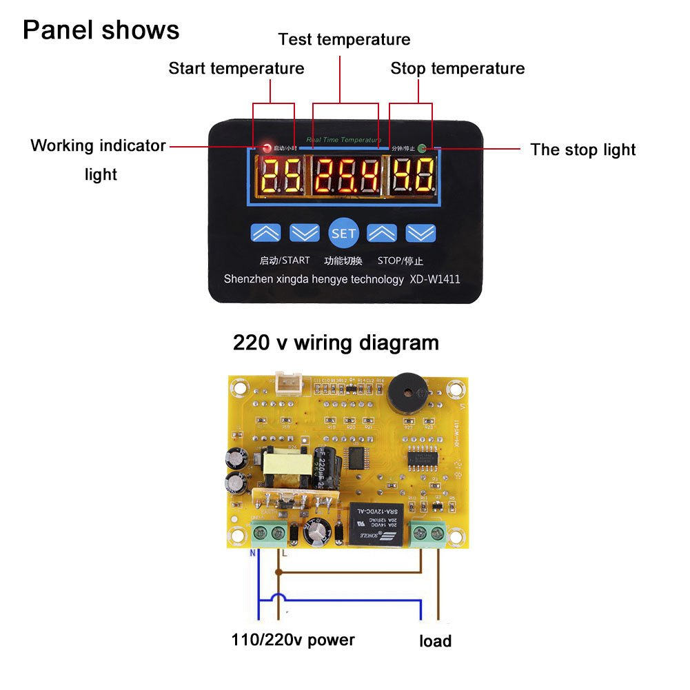 Multifunction Digital Intelligent Thermostat Temperature Controller How To Decipher The Wiring Schematic Of A 110220v Diy Kit With Easy Read Display220v Tools Home Improvement
