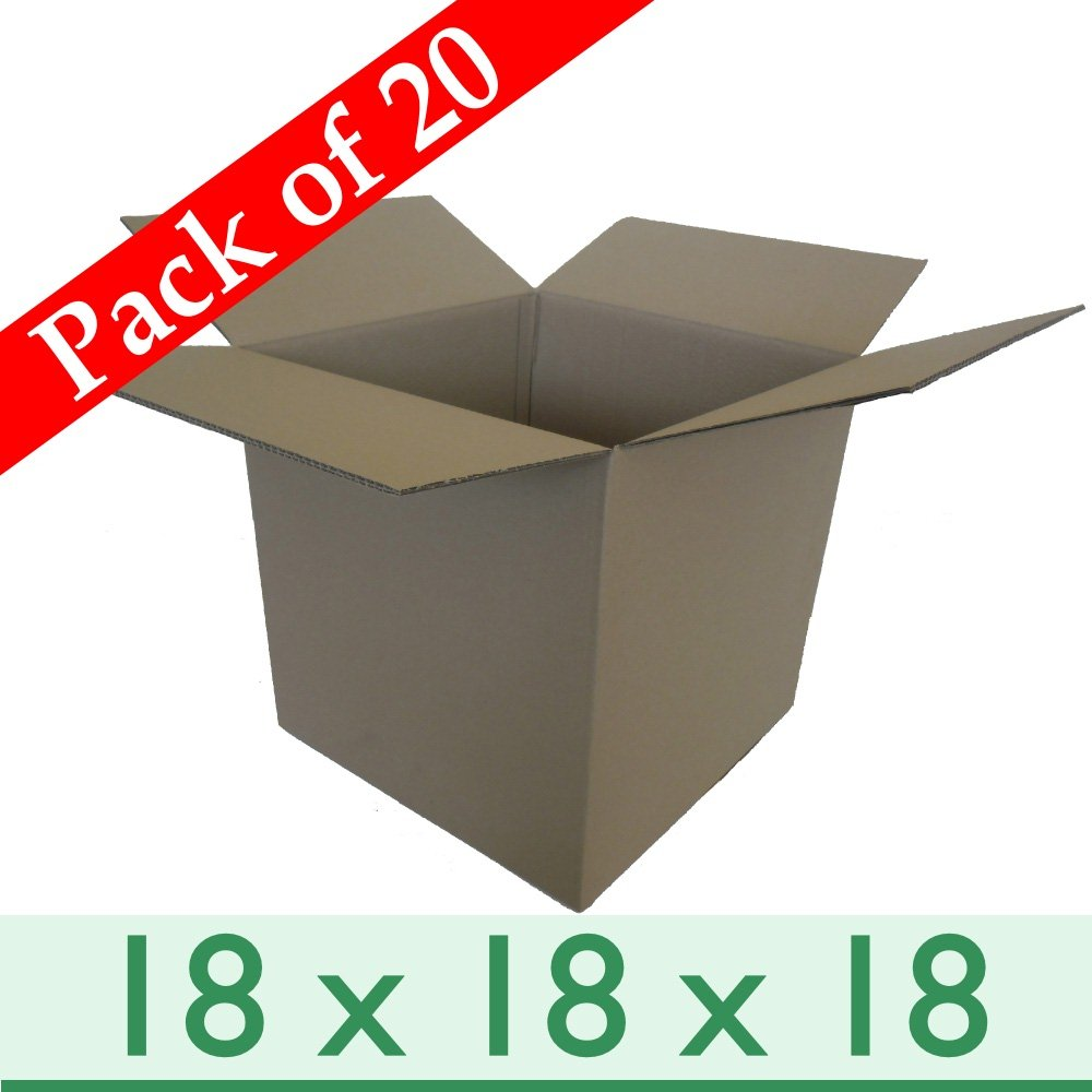 Double Wall Boxes 450mm x 450mm x 450mm Pack of 20 Large Strong Cubed Home Removal Cartons 18 x 18 x 18
