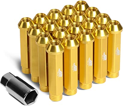 DNA MOTORING LN-T7-009-15-BK J2 Engineering 7075 Aluminum M12X1.5 20Pcs L 60mm Open End Lug Nut w//Socket Adapter