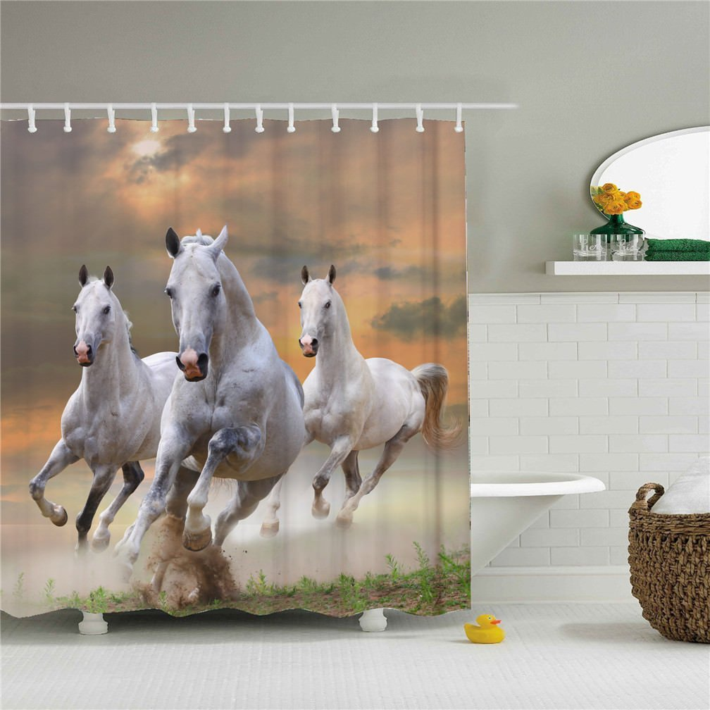 3 White Horse Shower Curtains running in the sunset 3D printing - Waterproof, Mildew resistant, Machine Washable - Shower Hooks are Included