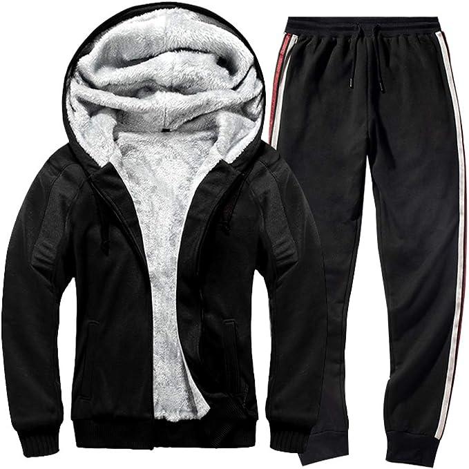 Mens Winter Thick Fleece Fur Lined Zipper Hoodie Tracksuits Sports Coat Pants UK