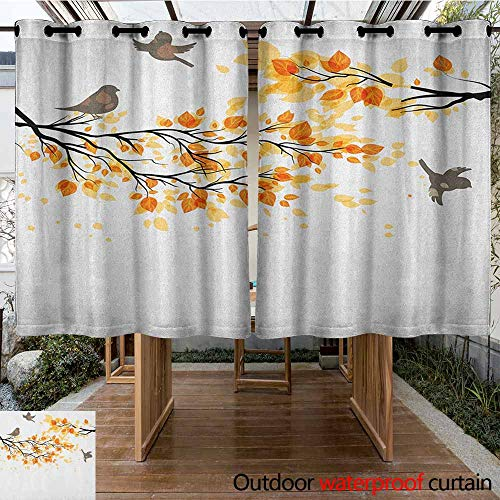 AndyTours Outdoor Window Curtains,Fall,Branch with Pale Fall Leaves and Birds Natural Change in Season Summertime Print,for Patio/Front Porch,K160C115 Yellow Cream