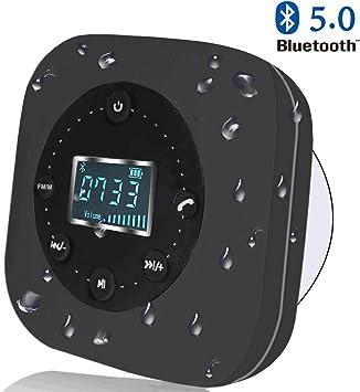 VICTORSTAR Altavoz Resistente al Agua con Pantalla LCD Altavoz para Ducha Bluetooth S603/ Radio FM/Micrófono Manos Libres Incorporado/Potente Ventosa de Succión/ 10 hrs de Tiempo de Juego (Negro): Amazon.es: Deportes y aire