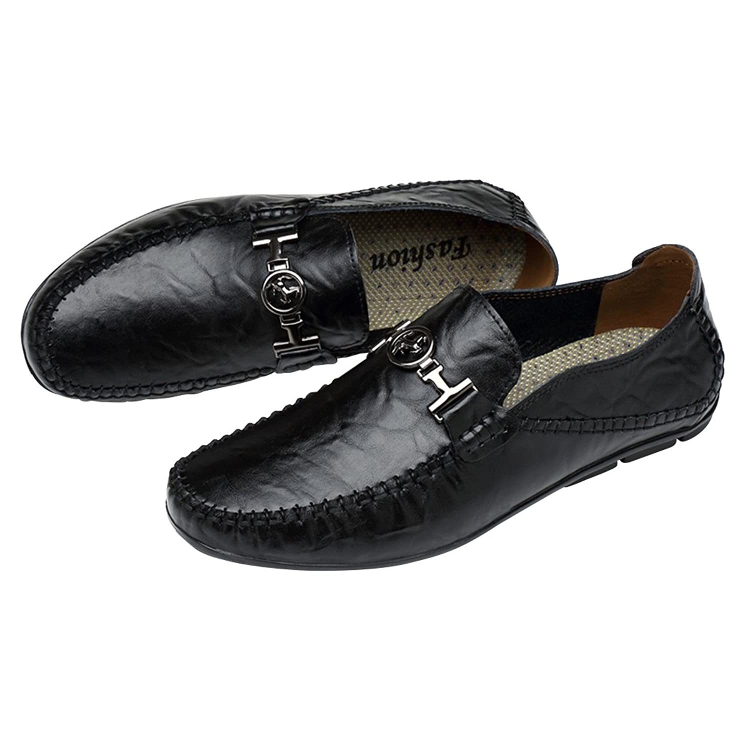 Snowman Lee Men's Premium Leather Loafers Fashion Wrinkle Pattern Casual  Slip-on Driving Shoes: Amazon.ca: Shoes & Handbags