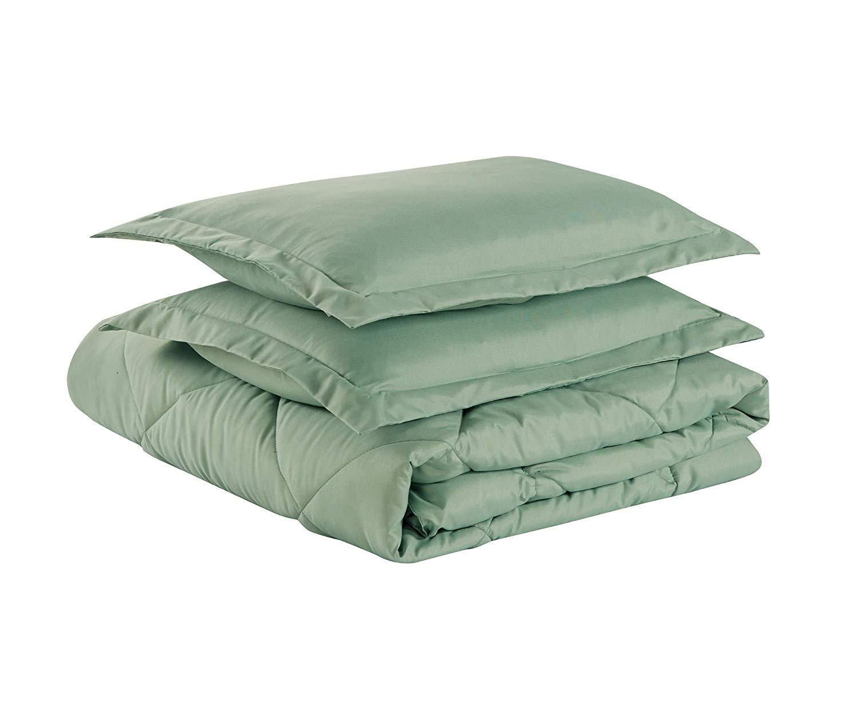 Chezmoi Collection 3-Piece Goose Down Alternative Comforter/Duvet Insert with Corner Tabs - All Season Hypoallergenic Comforter Set - Oversized Queen, Seafoam Green