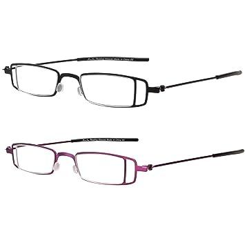 a959e1191619 LianSan 2 Pairs Fashion Metal Frame Designer Compact Magnifying Mens Women  Lightweight Reading Glasses L2004(