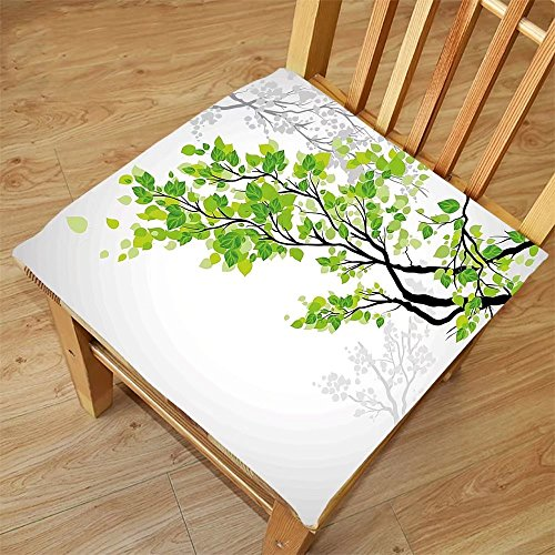Nalahome Set of 2 Waterproof Cozy Seat Protector Cushion Nature Decor Twiggy Spring Tree Branch with Refreshing Leaves Summer Peace Woods Graphic Green Grey Printing Size - Twiggy Sunglasses