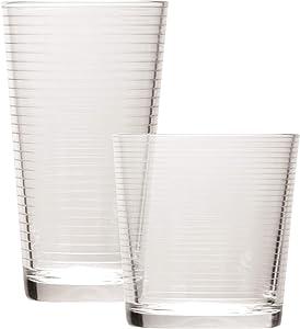 Circleware Hoop Huge Set of 12Drinking Glasses & Whiskey Cups Glassware for Water, Beer, Juice, Ice Tea, Bar Beverage, 6-15.7 oz & 6-12.5 oz