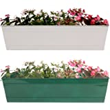 TrustBasket Rectangular Railing Planter Ivory and Green(23-inch) - Set of 2