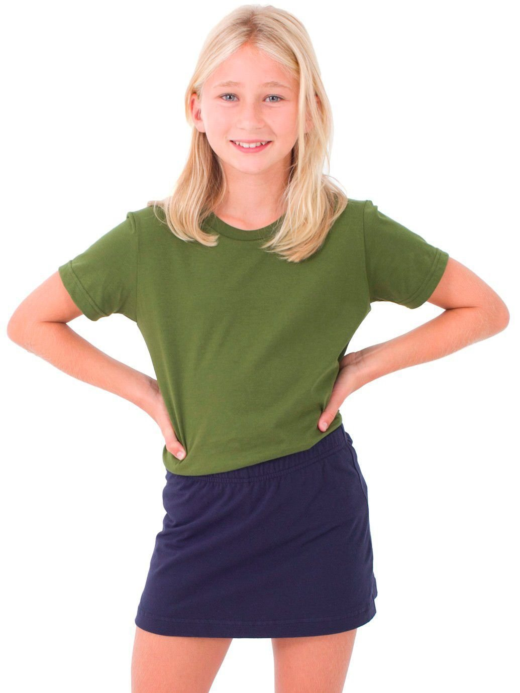 American Apparel Youth Fine Jersey Short Sleeve T-Shirt - Olive / 10 Years