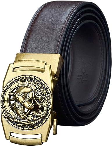 Diseño Hebilla Dorada Caballo Cinturones Automáticos Hombres Marrón Negro Cinturones Caja Regalo Tamaño Largo 110 115 120 125 Real Jeans Cuero Traje Trabajo Vaquero Cinturón Cuero Vaca Ancho 35 Mm: Amazon.es: Ropa y accesorios