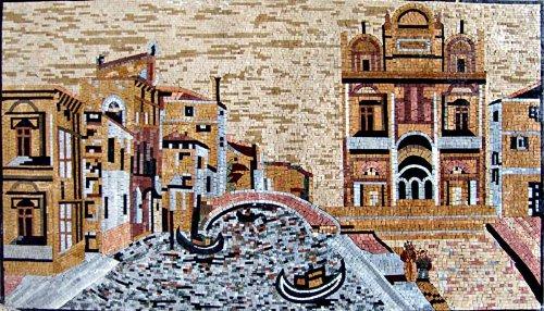 Venice View Hand Made Marble Mosaic Art Tile Mural - Art Tile Scene Mural Mosaic